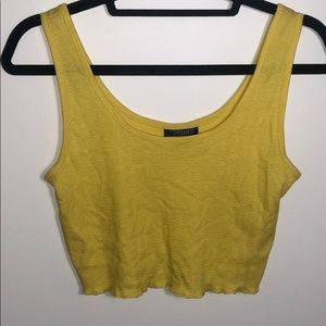 Lettuce trip yellow crop top
